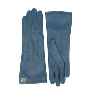 Coach Teal Blue Leather Logo Gloves