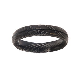 5MM, Single Groove Damascus Steel Ring For Men
