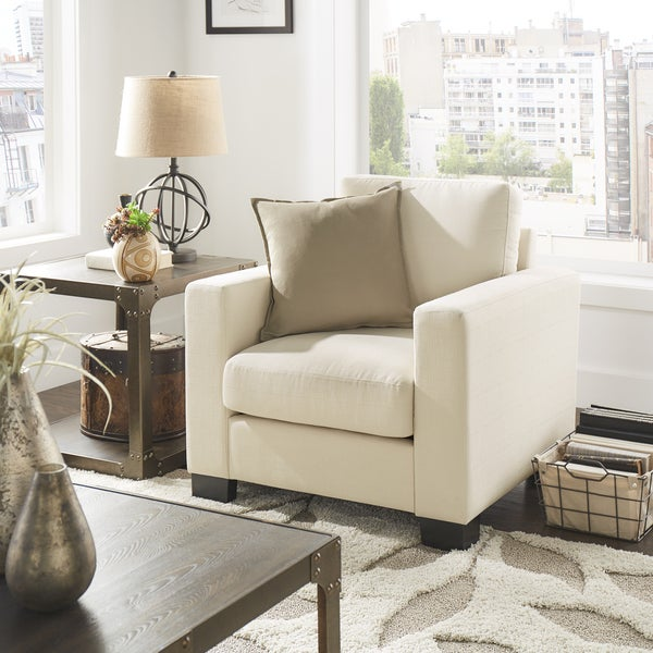 Torrington White Linen Fabric Down Filled Track Arm Accent Chair by iNSPIRE Q Classic