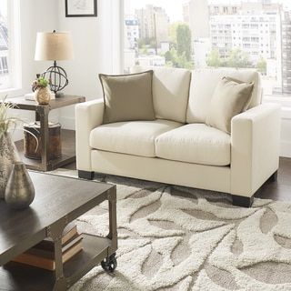 Torrington White Linen Fabric Down Filled Track Arm Loveseat by iNSPIRE Q Artisan