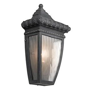 Kichler Lighting Venetian Rain Collection 1-light Black w/Gold Outdoor Wall Lantern