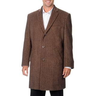 Pronto Moda Men's 'Ram' Light Brown Herringbone Cashmere Blend Top Coat Size 52R in Light Brown (As Is Item)