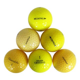 Yellow Rubber Assorted Recycled Golf Balls with Bucket (Pack of 50)
