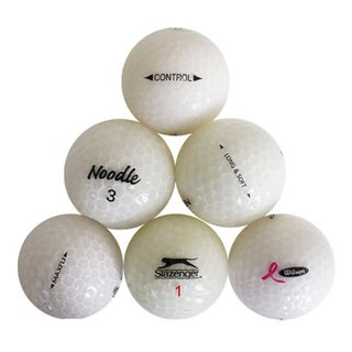 White Crystal 50-piece Recycled Golf Ball Assortment with Free Bucket