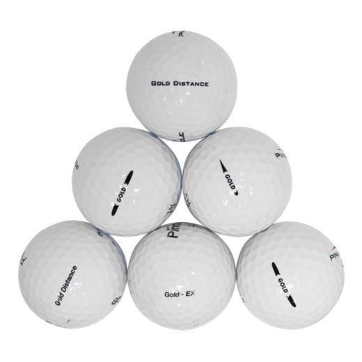 50 Pinnacle White Recycled Rubber Golf Balls with Free Bucket