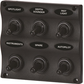 Unified Marine SeaSense WAVE Design Black Polypropylene 6 Gang Switch Panel