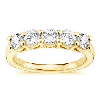 14k Yellow Gold 1ct TDW 5 Stone Diamond Wedding Ring G H SI1 SI2
