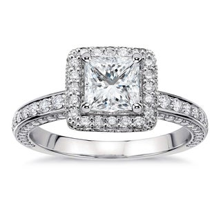 14k White Gold 2 2/5ct TDW Princess-Cut Diamond Halo Engagement Ring (G-H, SI1-SI2)