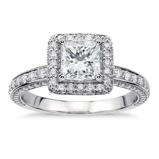 14k White Gold 2 2/5ct TDW Princess-Cut Diamond Halo Engagement Ring (G-H, SI1-SI2)