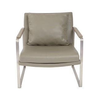 Euro Style Emmett Taupe Stainless Steel/Faux-leather Lounge Chair