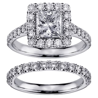 14k Gold 2 1/3 CT Square Halo Princess Cut Diamond Engagement Bridal Set (G-H, SI1-SI2)