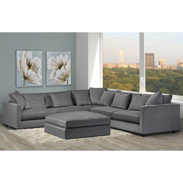 Beau Made To Order Modern Lounge Down Filled Grey Fabric Sectional Sofa And  Ottoman