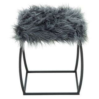 Benzara Grey Metal/Fur 17-inch W x 20-inch H Stool