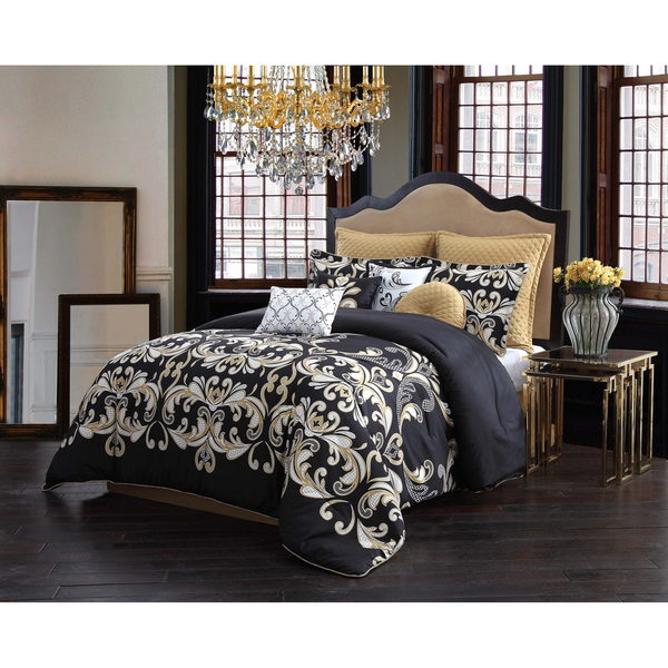 Exceptional Black 10 Piece Comforter Set