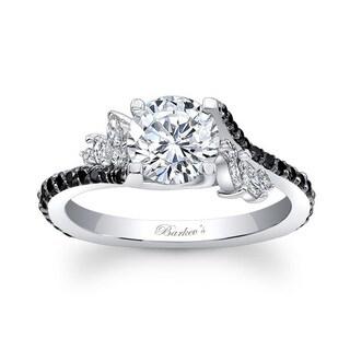 Barkev's 14k White Gold Designer Round Cut Diamond Engagement Ring
