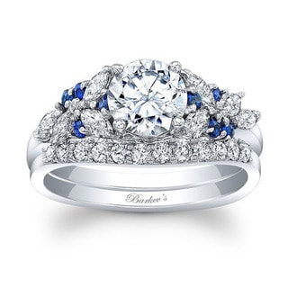 Barkev's 14k White Gold Round cut Diamond Bridal Ring Set with 1/2ct in Side diamonds and 0.18 ct Round Blue Sapphires (Option: 6.75)