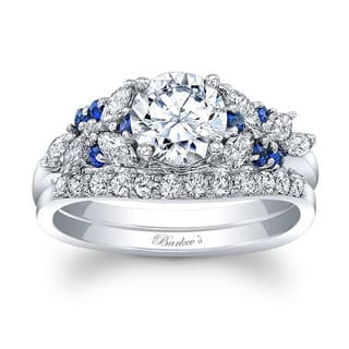 Barkev's 14k White Gold Round cut Diamond Bridal Ring Set with 1/2ct in Side diamonds and 0.18 ct Round Blue Sapphires (Option: 8.75)|https://ak1.ostkcdn.com/images/products/13787089/P20438128.jpg?impolicy=medium