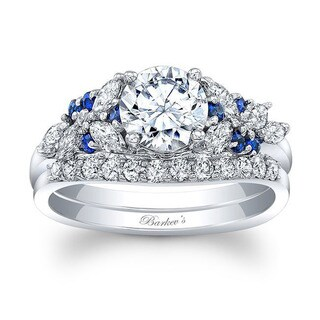 Barkev's 14k White Gold Round cut Diamond Bridal Ring Set with 1/2ct in Side diamonds and 0.18 ct Round Blue Sapphires