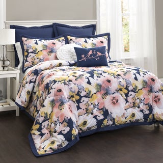 Lush Decor Floral Watercolor 7-piece Comforter Set (As Is Item)