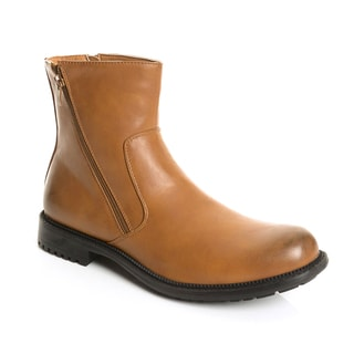 Solo Men's Brown Leather Double-zip Above Ankle Boot