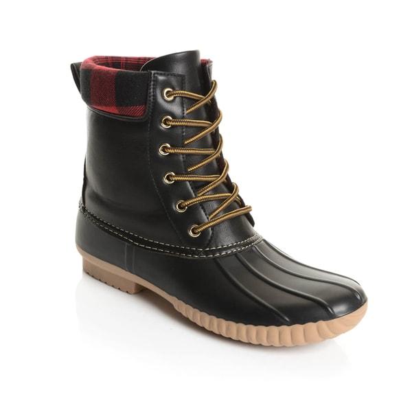 1d146088474c79 Shop Solo Men s Black Rubber Plaid Collar Duck Boots - Free Shipping ...