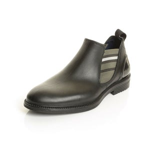 Solo Men's Black Rubber Slip-on Ankle Boots