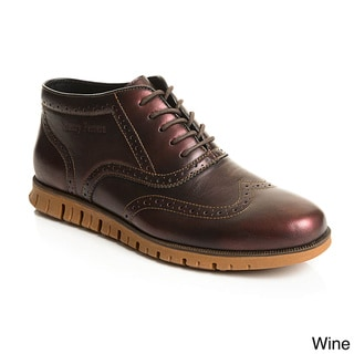 Henry Ferrera Collection Men's Faux Suede Casual Wingtip Brogue Oxford Shoes