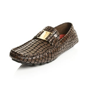 Henry Ferrera Collection Men's Faux Leather Alligator Print Buckle Slip-on Loafers