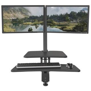 BALT Up-Rite Desk Mounted Sit-Stand Workstation, Double, 27 1/8 x 30 x 42, Dark Grey