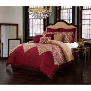 Burgundy 10-piece Comforter Set