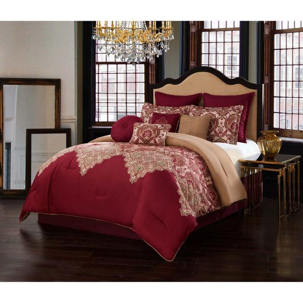 Shop V19.69 Italia Burgundy 10-piece Comforter Set - Free Shipping on burgundy bedroom designs, burgundy kitchen decorating, french themed bedroom ideas for decorating, burgundy and cream bedrooms,