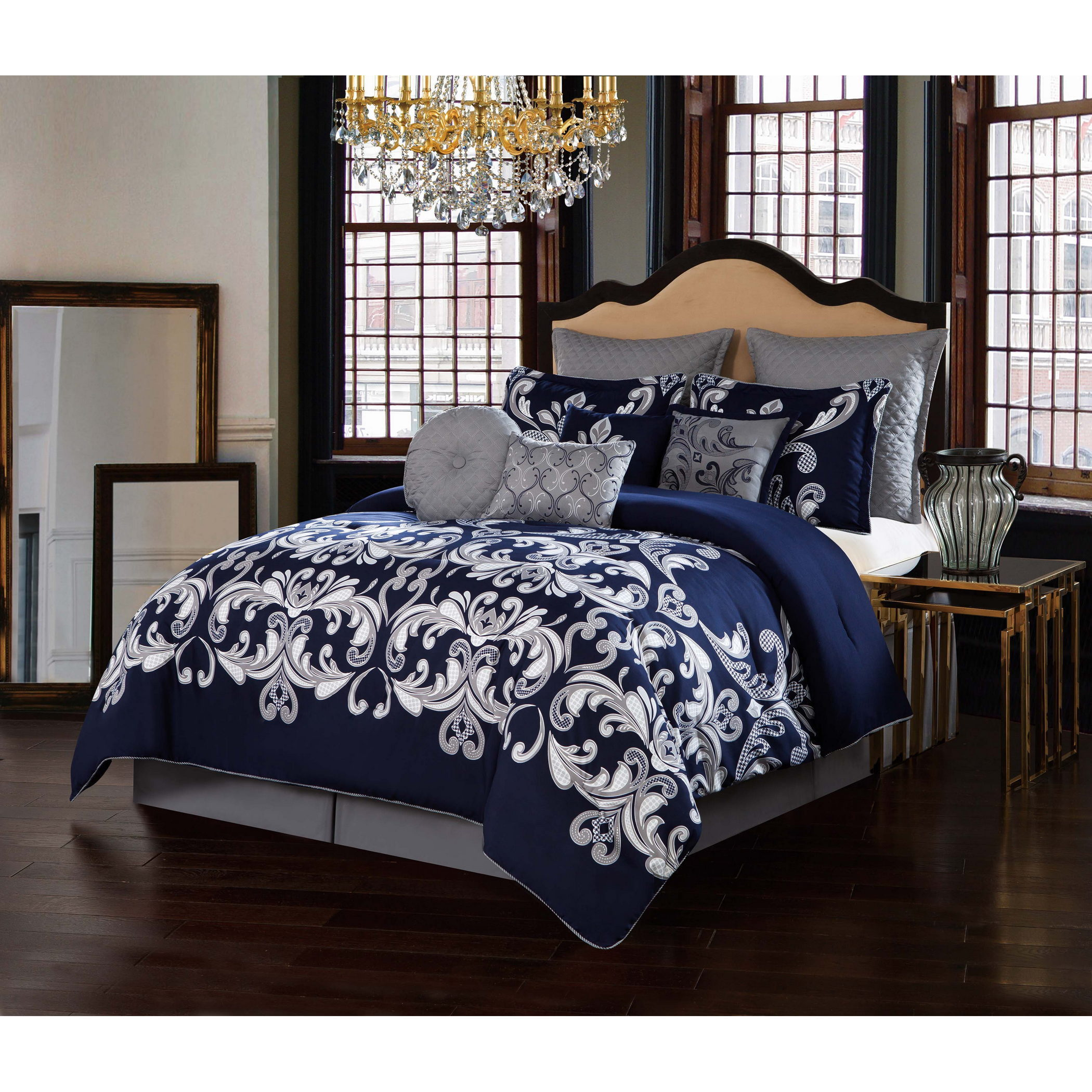 Style 212 Dolce Navy 10 Piece Comforter Set Overstock 13788314