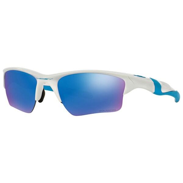 9584a8e2c7 Oakley Men  x27 s OO9154-54 Half Jacket White Frame Polarized Sapphire  Iridium