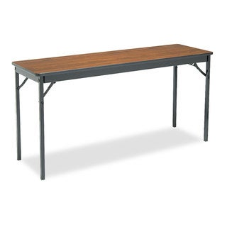 Barricks Special Size Folding Table, Rectangular, 60w x 18d x 30h, Walnut/Black