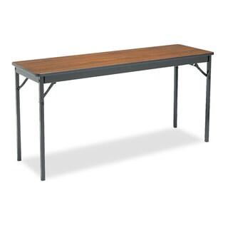 Barricks Special Size Folding Table, Rectangular, 60w x 18d x 30h, Walnut/Black