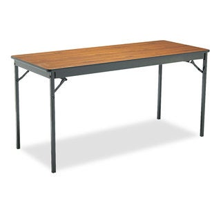 Barricks Special Size Folding Table, Rectangular, 60w x 24d x 30h, Walnut/Black