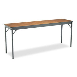Barricks Special Size Folding Table, Rectangular, 72w x 18d x 30h, Walnut/Black