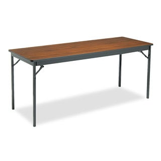 Barricks Special Size Folding Table, Rectangular, 72w x 24d x 30h, Walnut/Black