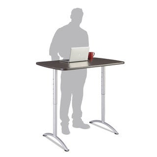 Iceberg ARC Sit-to-Stand Desks, Rectangular Top, 30w x 48d x 36-48h, Grey Walnut/Silver
