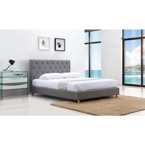Casabianca Home Otto Collection Grey Fabric Queen Bed