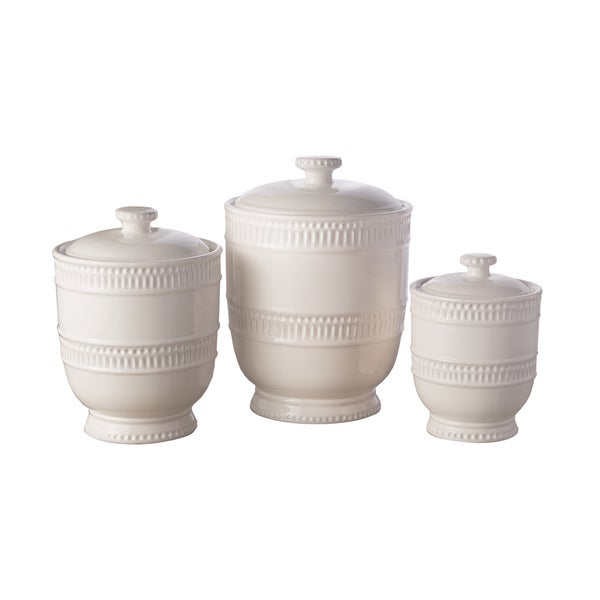 American Atelier Bianca Ridge White Canisters (Pack of 3)