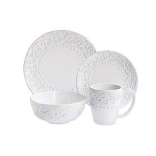 American Atelier Bianca Scroll Blue Earthenware 16-piece Dinnerware Set