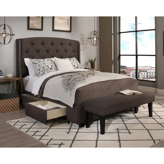 republic design house peyton grey kingcal king headboard storage bed and bench collection