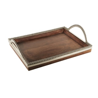 Accents by Jay Silver/Brown Metal/Wood Beaded Tray with Handles