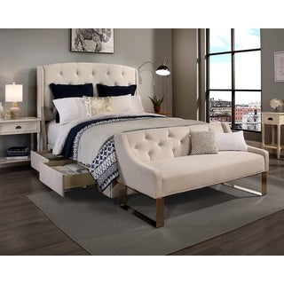 'Peyton' Ivory Headboard, Storage Bed and Sofa Bench Set (King, Cal. King)