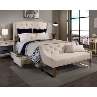 'Peyton' Ivory Headboard, Storage Bed and Sofa Bench Set (King, Cal. King)