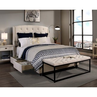 Republic Design House Peyton Ivory King/Cal King Headboard, Storage bed and Wide Tufted Flat Bench Collection