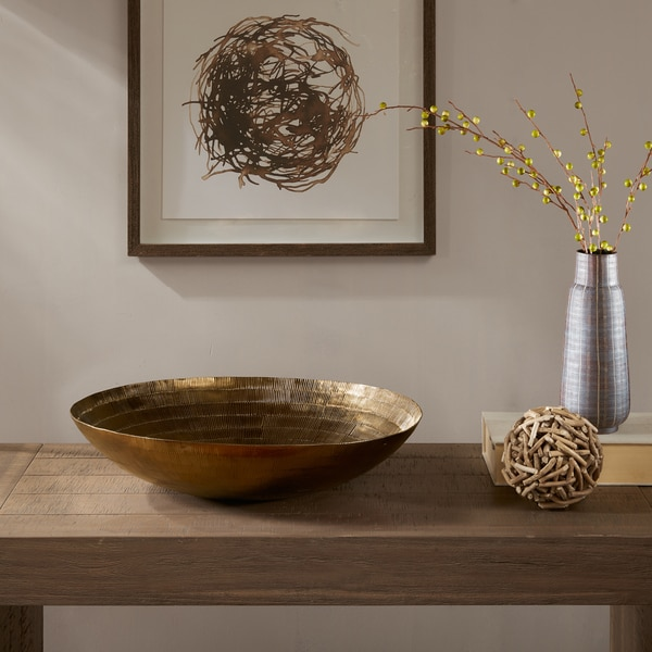 INK+IVY Orly Brass Handmade Disk Bowl-Large
