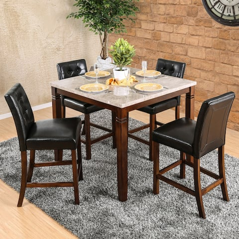 Furniture of America Jald Modern Cherry 5-piece Counter Dining Set