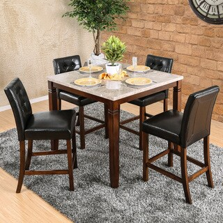Furniture Of America Terese 5 Piece Genuine Marble Brown Cherry Counter  Height Dining Set